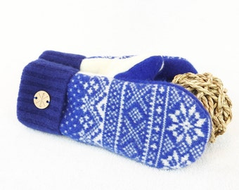 ROYAL BLUE Mittens Cobalt Nordic Sweater Wool Gloves Fleece Lined Stocking Stuffer Unisex Gift for Him or Her Under 50 by WormeWoole