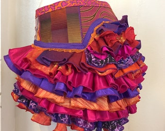 Upcycle Ruffle Bustle Purple Pink Orange Burning Man Tutu Pixie Fairy Costume Steampunk Edwardian Victorian Renaissance Burlesque