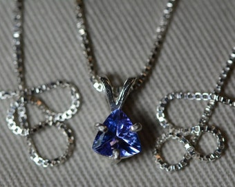 Tanzanite Necklace, Certified Tanzanite Pendant 0.59 Carats Appraised At 324.50 On Sterling Silver Necklace, Trillion Cut Tanzanite
