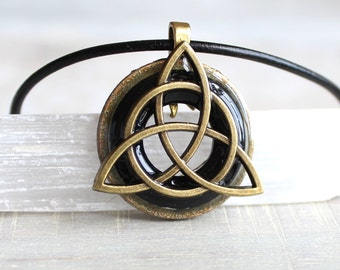 black triquetra necklace, mens necklace, mens jewelry, celtic jewelry, irish jewelry, mens gift, celtic necklace, celtic knot, cord necklace