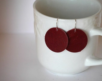 Red Circle Drop Earrings