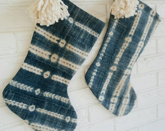 Boho Stocking - Vintage African Mudcloth Stocking - Indigo Christmas Stocking