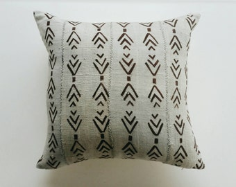 Gray and Brown Mudcloth Pillow Cover - Grey Tribal Throw Pillow - Modern Bohemian Decor