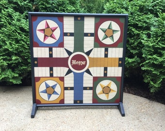 "25"", Parcheesi, Game Board, Wood, Folk Art, Primitive, Game Boards, Wooden, Board Game"
