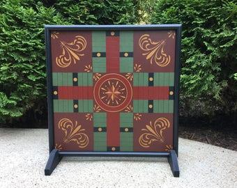 "19"", Parcheesi, Primitive,  Wood, Game Board, Game Boards, Folk Art,  Parcheesi Game Board"