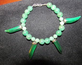 "Green Aventurine And Jade 7"" Bracelet"
