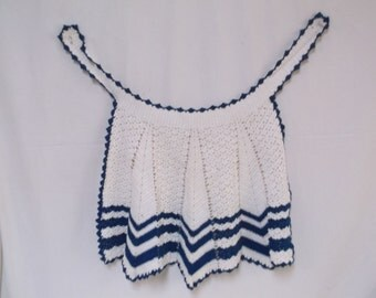Vintage Child's Half Apron, Hand Crocheted, White and Blue
