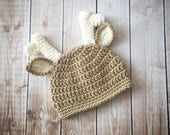 Little Mr. Deer Beanie in Light Taupe and Ecru Available in 4 Sizes- MADE TO ORDER