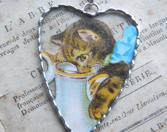 Fiona & The Fig - Vintage Die Cut-Cat-Kitten Drinking From A Pitcher - Soldered Charm - Necklace - Pendant-Jewelry