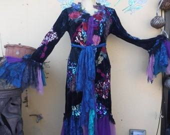 """20%OFF gothic steampunk bohemian jacket gypsy coat hippy velvet  ....work of art!!   smaller to 40"""" bust...."""