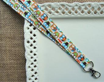 Fabric Lanyard - Mini Hoot Owls on Ivory