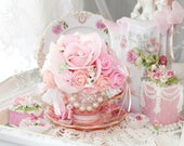 RESERVED Princess Kristen Pink Gracie Roses Tea Party Teacup Floral arrangement Tea Cup Victorian Jewels and Roses Shabby Chic Rose Bridal