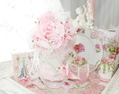 Pink Princess Tea Party Glittering Jewel and Roses in Paradise Shabby Chic Rose Bridal Floral Arrangement Marie Antoinette Victorian