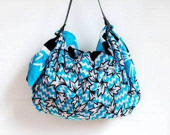 Ivy Furoshiki & Black Leather Carry Strap Set