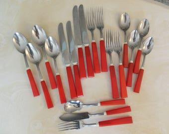 Red Retro Flatware, 4 Place Settings Plus 3 Serving Pcs, Art Deco Serving 19 Pcs