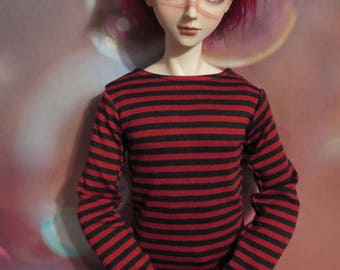 70cm BJD Red Black Striped Long Sleeve Shirt