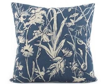 Floral Indigo Pillow Cover 18x18, 20x20, 24x24 Euro Sham or Lumbar, Blue Throw Pillow, Accent Pillow, Toss Pillow, Lacefield Garden Party