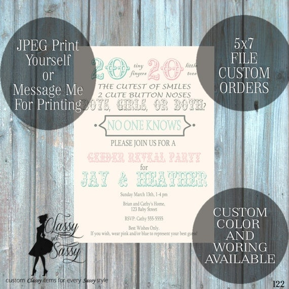 Twins Gender Reveal Invitation, Twins Invitation, Twins Baby Reveal 122