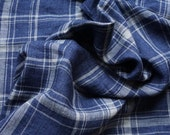 Pure  linen fabric with Gray  checks on blue melange background-natural fabric 2 m