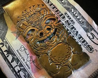 Hand-made Tropical Tiki Brass money clip #3