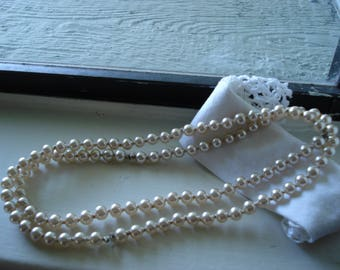 Vintage 1940's Necklace 8mm Japan Glass Knotted Ivory Pearls 30 Inches Luminous