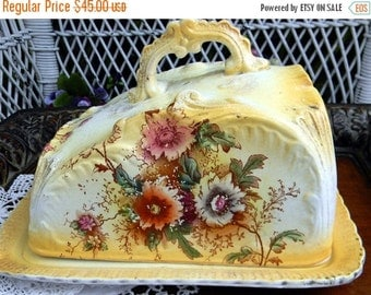 Large Antique Cheese Dish Lidded - DAMAGED - Large Vintage Butter Dish and Plate 11055