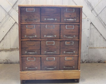 File Away.....  Industrial Antique Hardware Store Drawers, Storage Cabinet, Card Catalog, Wood, Galvanized Metal