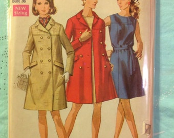 Vintage Simplicity 8043 Double Breasted Coat & Dress Sewing Pattern 34 or 36 Bust 1960s