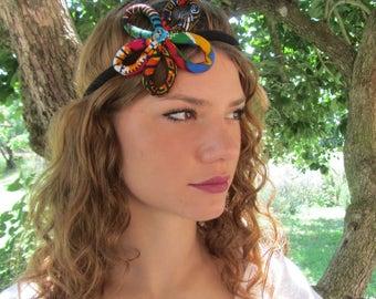 Flower Head Band - Boho flower Headpiece - African Wedding hair accessories - Kente flower
