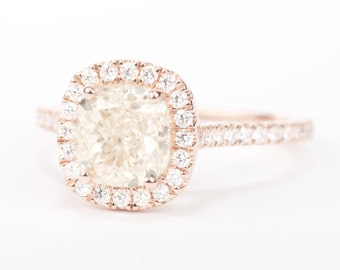 Sale - CERTIFIED - GIA Certified Natural 2.02 CT Unenhanced VVS2 Cushion Diamond Halo Engagement Ring Solid 18K Rose gold