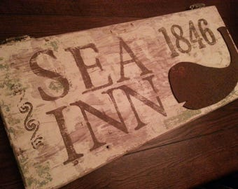SALE All American Cast Iron WHALE Trade Sign SEA Inn 1846 All Vintage New England Southern Cupboard Wood Door Folk Art Nautical Patina