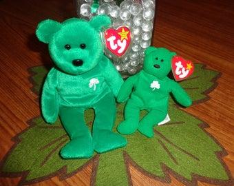 RARE! Retired Ty Beanie Babies Erin Shamrock Bear 1997 w/Teenie Erin MWMT