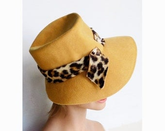 1960s-70s Gold Floppy wool hat / Fedora with fake leaopard hat band by DAYLE / Audrey Hepburn