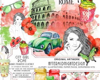 City Girl Rome - The Eternal City Love Clipart Shopping Clipart Fashion Clipart Watercolor Illustration Planner Stickers Hot Pink Red Gold