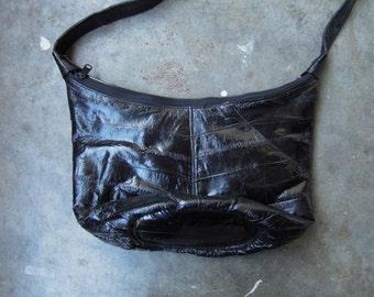 Vtg Eelskin Black Leather Boho Handbag Shoulder Purse 70s 80s