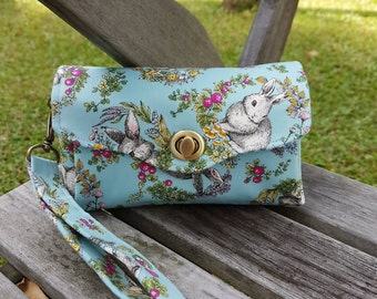 Hand Clutch - Blue Bunny