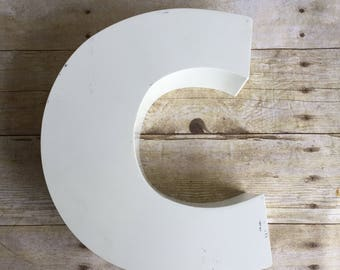 White Channel Letter Large Vintage Sign Letter O Industrial Decor - Staging - Prop