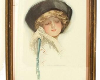 Antique 1910 Victorian Female Portrait Print Harrison Fisher Framed