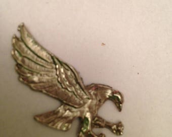 Circa 1960-1970 Small Silver Destash Eagle Medallion For Crafts or Patriotic Display, Jewelry Making, Patriotic Embellishment Patriotic Icon