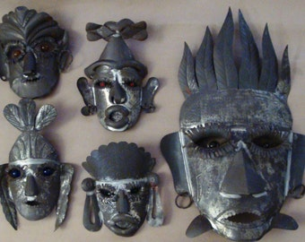 Vintage 1950s Mid Century Mexican Tin Wall Art - 5 Aztec Masks