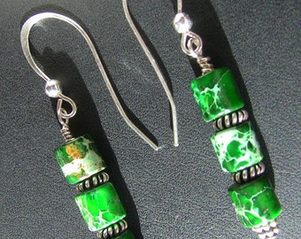 Green Impression Jasper Dangle Earrings