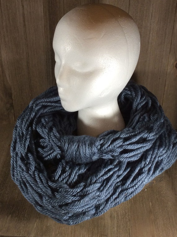 Infinity Scarf Knitting Pattern Super Bulky : Super Bulky Arm Knit Infinity Scarf Washington Denim