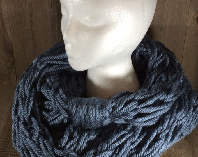 Super Bulky Arm Knit Infinity Scarf ~ Washington Denim