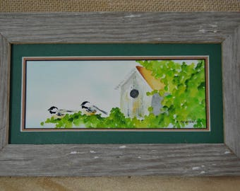 Chickadee couple next to their bird house in Spring (framed 4x8)