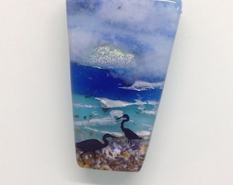 Sea Birds by the Shore Trapezium Fused Glass Pendant Necklace