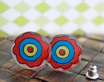 Red Button Daisy Earrings Illustrated Hand-Made Stud