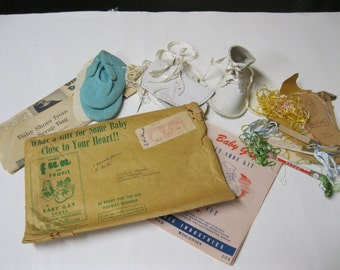 Crafting KIt Sweet Baby Gay Felt Shoe DIY Kit in Original Mail Envelope - Patterns, Instruction Sheets, Shoes, Supplies and Lots of Extras