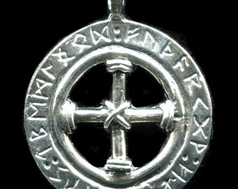 Norse / Viking Solar Cross with Furhtark Ring - 5160S