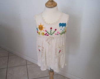 Hand made Embroidered Periuvian Girl  Dress for Spring and Summer Size 2