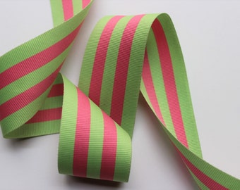 Woven jacquard grosgrain ribbon pink green stripe preppy striped